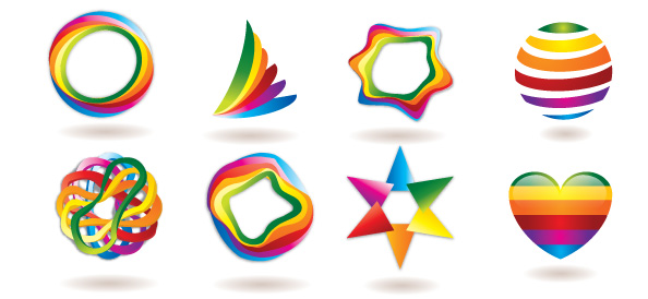 Free Logo Template Set with Colorful and Abstract Shapes - Free Logo Template Set with Colorful and Abstract Shapes