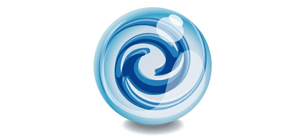 Glass Ball Logo Template with Abstract Swirl Effects