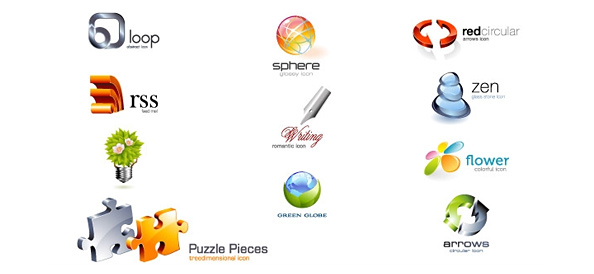 Glossy 3D Logo Design Template Set