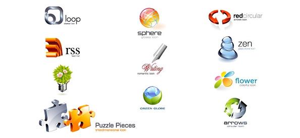 Glossy 3D Logo Design Template Set