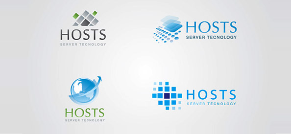 Vector Logo Designs for Hosting and Server Storage