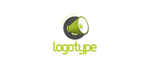 Free Communication Logo Design Template with a Loudspeaker