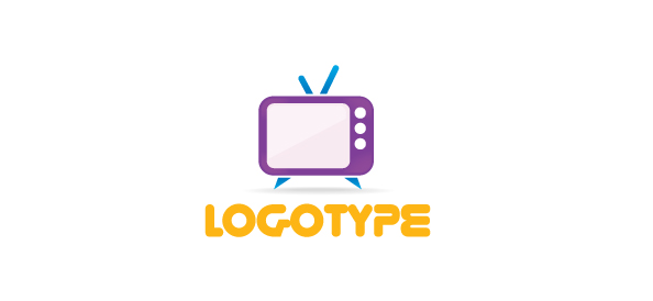 Free Media Logo Template with a Retro TV