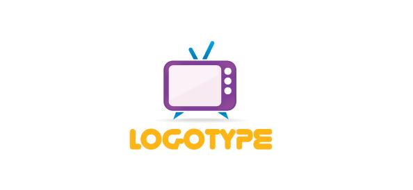 Free Media Logo Template with a Retro TV