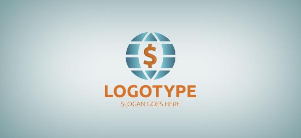 Dollar in Globe Logo Template