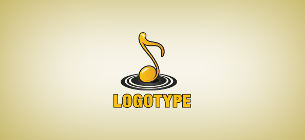 Golden Music Note Logo Template