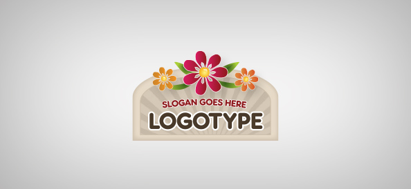 Sign with Flowers Logo Template
